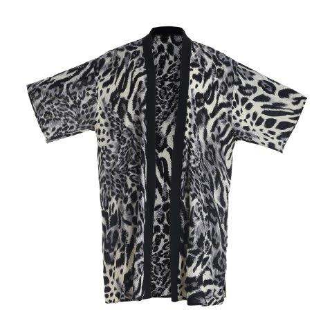 Kimono -Leopard -Grey
